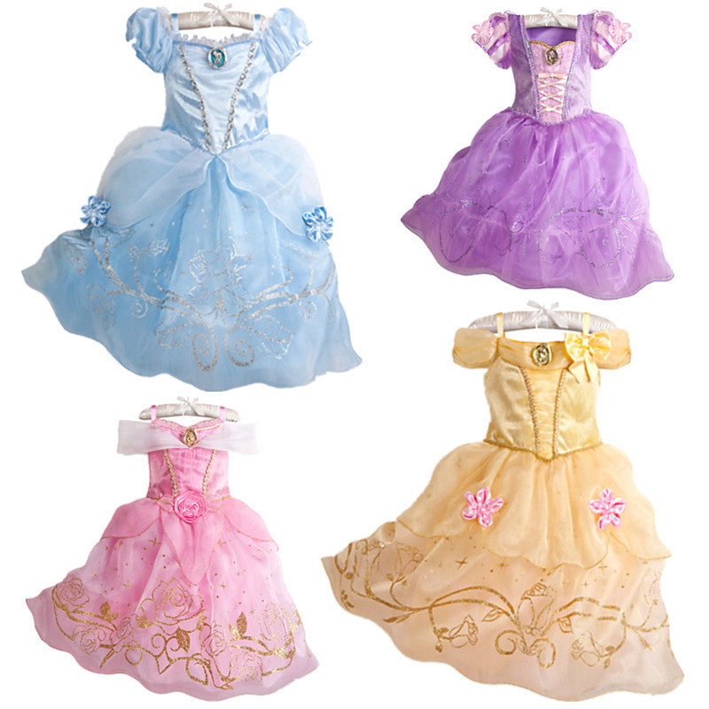 2017 Girls Summer Dress Kids Cindrella Snow White Cosplay Costume Baby Girl Princess Dress Rapunzel Aurora
