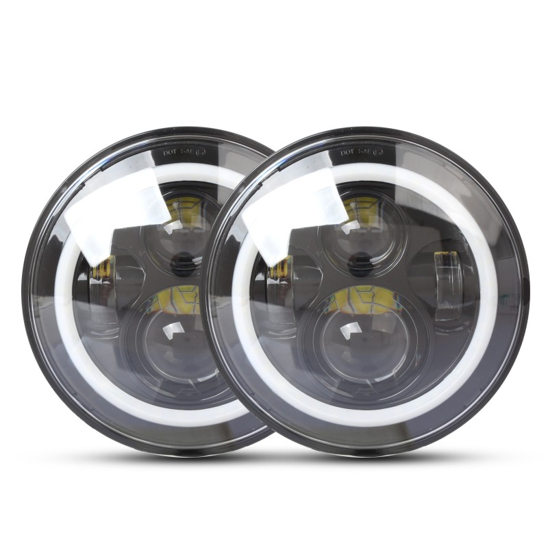 75W 7 Inch Round Led Headlight with Angel Eye Auto for Cars For Jeep Wrangler Car-styling 10V 30V 45w 30w 7 inch round led headlight with