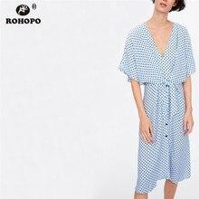 ROHOPO Sky Blue Polk Dot Midi Dress Sashe Waist Tunic Baggy Female Preppy V Collar Butterfly Short Sleeve Vestido #AZ9210
