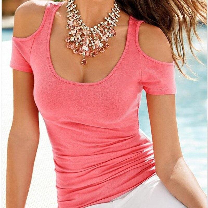 2016 Women T Shirt Fashion Casual Short Sleeve Off The ...