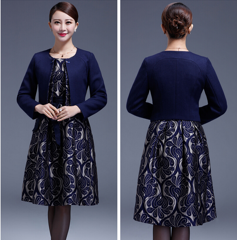 2016 New High Quality Dress Suits Plus Size For Middle Aged Female Long Sleeve for Autumn