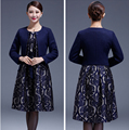 2016 New High Quality  Dress Suits  Plus Size For Middle Aged Female Long Sleeve for Autumn M -4XL