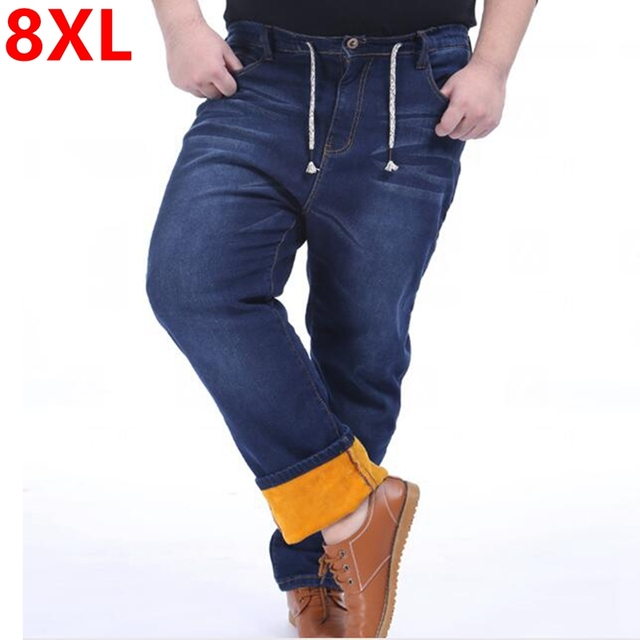 Large yards men's trousers plus velvet jeans with thick winter male waist elastic fat people warm pants 6XL 5XL 4XL