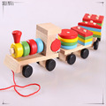 Esencial geometría Educativos Juguetes De Madera Para Niños De Madera de Apilamiento de Tren De Madera Bloques de Bebé Aprendizaje Temprano Juguetes