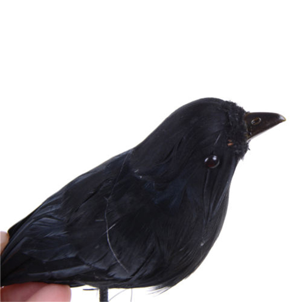 practical boutique 1pc realistic looking halloween decoration birds black feathered crows halloween prop decor about 16cm