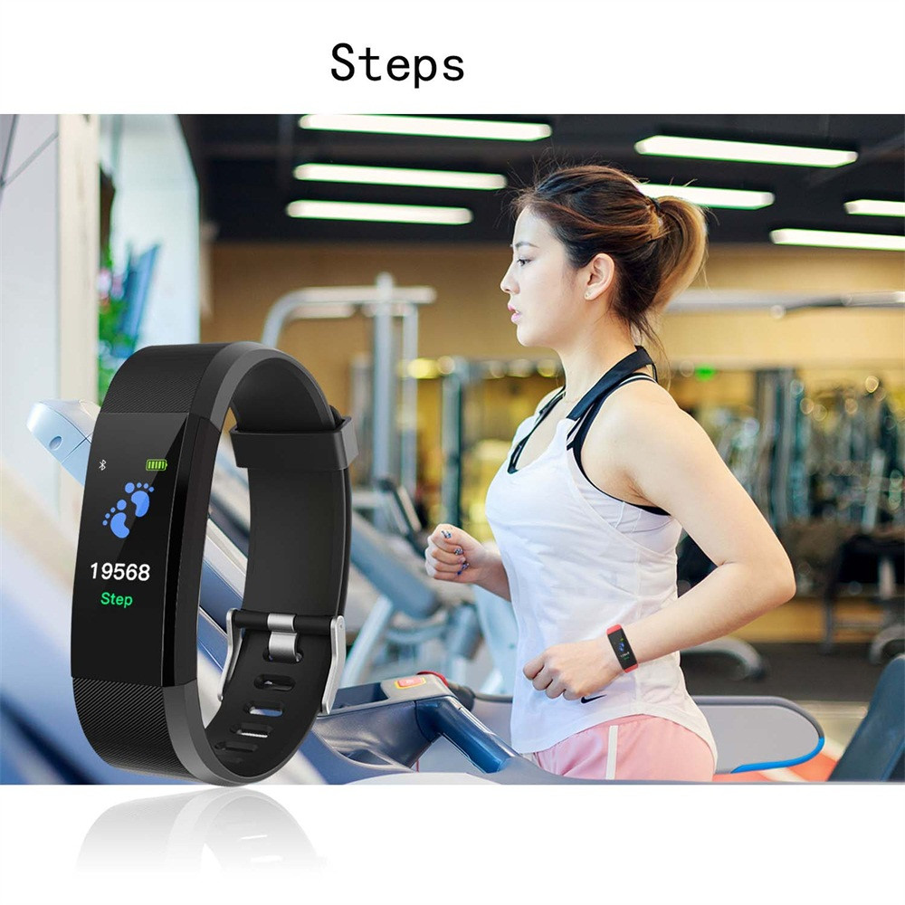 GEMIXI 115plus 0.96inch IPS Color Smart Watch Bracelet Heart Rate Monitor Bluetooth LE 4.0 Smart Wristwatches for Android
