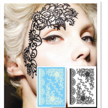 LS616/Rocooart eco-friendly henna temporary Indian flower tattoo black lace sticker