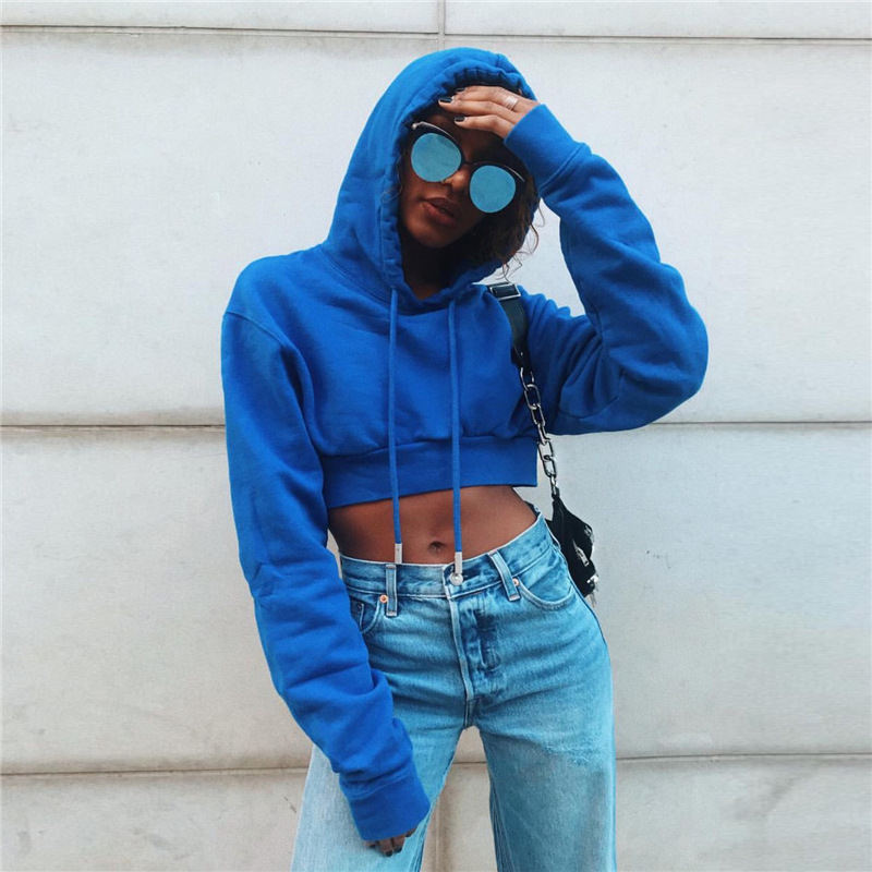 bbe4a12b4 Women Tumblr Sexy Sweatshirt Cropped Hoodie Hip Hop Oversized Pullover Female  Sweatshirt Blue Jumper Ullzang Harajuku Hoodies