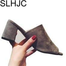 Лето 2017 г. Насосы Для женщин на среднем каблуке открытый носок Пикантные модные сандалии квадратный каблук Шлёпанцы для женщин летние туфли-лодочки