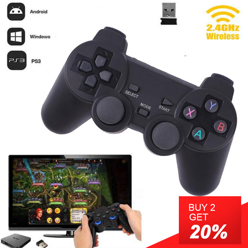 Vibración Joystick inalámbrico Gamepad PC para PS3 PS4 teléfono Android caja de TV Joystick 2,4G Joypad juego Pad para PC xiaomi para Vista