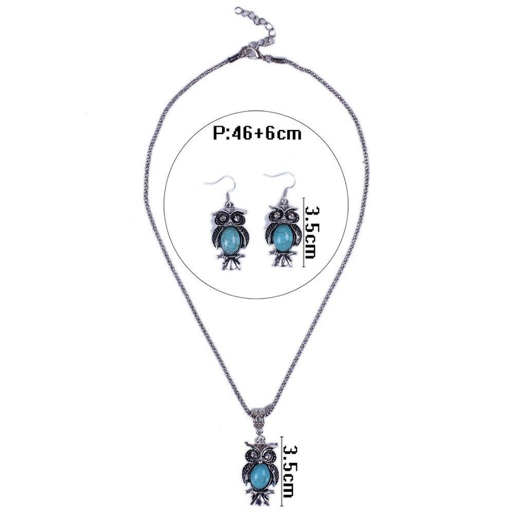 Women's Vintage Crystal Eye Green Beads Owl Necklace Earrings Set Parure  Bijoux Mariage Women Jewellery Sets