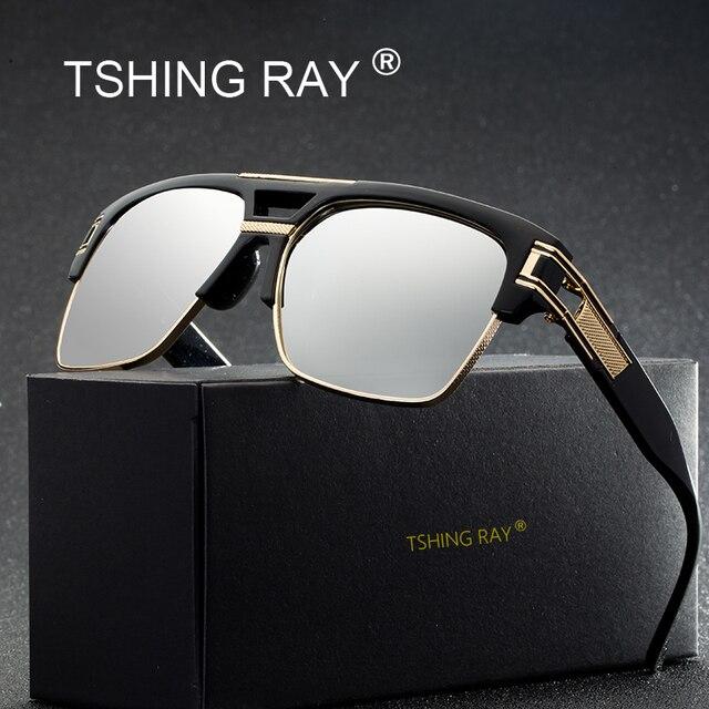 1f2fea3c99 TSHING RAY Cool Flat Top Grand Carré lunettes de Soleil Hommes Femmes  Marque De Luxe Designer