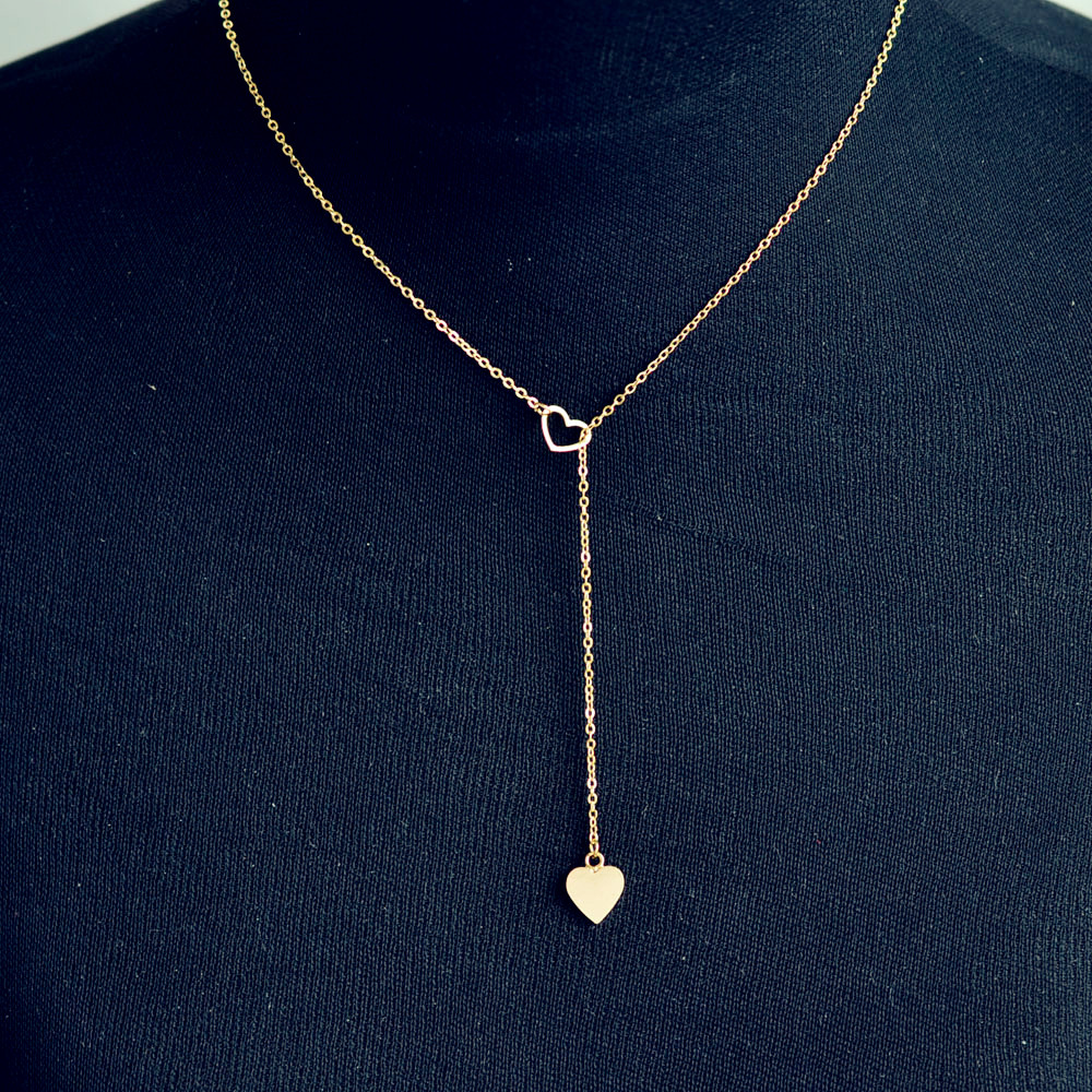 New fashion trendy jewelry copper heart chain link necklace gift for women girl N2123 1