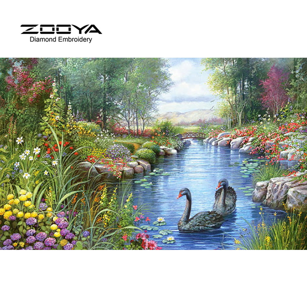 NEW 3D Diamond Painting Cross Stitch Swan Lake Crystal Needlework Diamond Embroidery Landscape Full Diamond Decorative BJ536