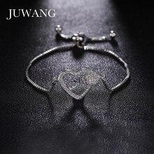 JUWANG 3 Colors Heart Shape Rose Gold Bracelet  for Woman Romantic  Cubic Zirconia Adjustable Chain Bracelet Gift Wholesale wholesale couples silver heart shape chain design bracelet h367
