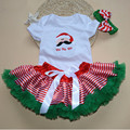 Baby Girl Clothing Set Newborn Infant Christmas Clothes Santa Claus Christmas Party Outfit Short Sleeve Bodysuit  Tutu Skirt Set