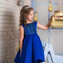 Blumenmädchenkleider Königsblau Pailletten Kommunion Kleid Knielangen Kinder Abendkleider 2017 Günstige Kleider Für Mädchen 10 12