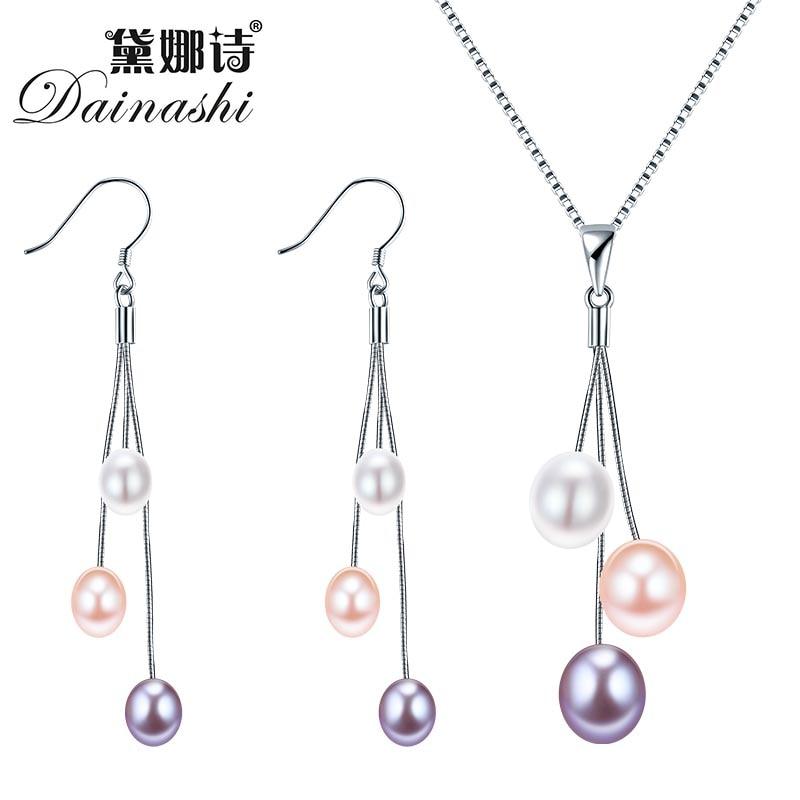 Dainashi 100% äkta sötvatten pärla naturliga pärla smycken set - Fina smycken