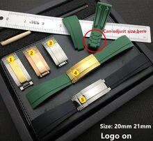 20mm 21mm natureza borracha silicone pulseira de relógio fivela para alça de papel daytona submariner deepsea gmt seamarster oysterflex