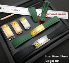 20mm 21mm tự nhiên Cao Su Dây đeo Đồng Hồ Silicone Khóa Dây Đeo Đồng Hồ cho Vai Trò dây Daytona Submariner DEEPSEA GMT SEAMARSTER OYSTERFLEX