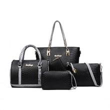WORTHFIND 5 PCS Set Women Handbags Composite Bag Women Messenger Bags Shoulder Handbag Purse Wallet PU