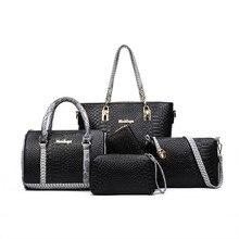 Worthfind 5 unids/set mujeres bolsos compuesto bolsa de las mujeres bolsa de mensajero bolsas de hombro del monedero del bolso cartera de cuero de la pu