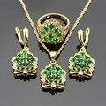 Корона Shaped Зеленый Синтетический Изумруд Рождество Ювелирные Наборы Для Женщин Свадебное Ожерелье Серьги Кольца Dance Party Подарок