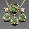 Coroa Em Forma de Verde Esmeralda Sintética Natal Colar Pingente Anel Brincos Conjuntos de Jóias Para As Mulheres de Casamento Presente Do Partido de Dança