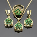 Crown Shaped Green Synthetic Emerald Christmas Jewelry Sets For Women Wedding Necklace Pendant  Earrings Ring Dance Party Gift