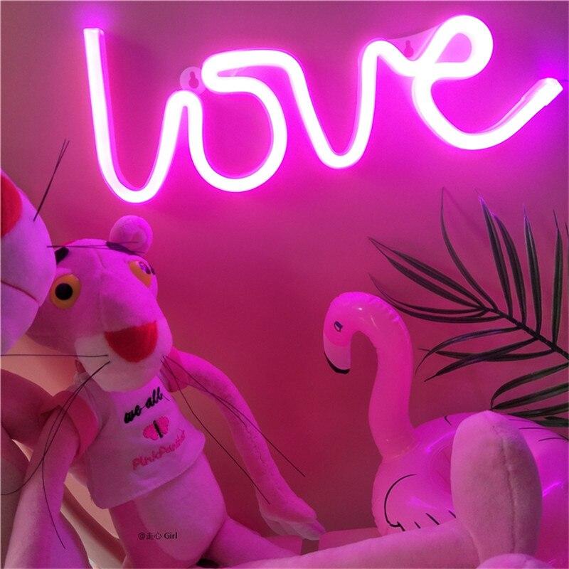 Luzes da Noite rosa branca operado por bateria/usb Feature 1 : Neon Lamp