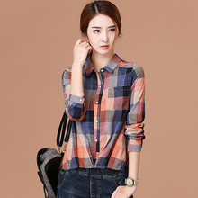 2017 spring new plaid shirt female loose POLO collar shirt casual lapel Orange grid Women's clothing Tops