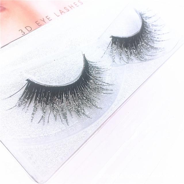 bda285296bd 3D Mink Messy Silver Glitter Long False Eyelashes Sequin Eyelashes Shimmer  Color Exaggerated Fake Lashes Extension Makeup Tools