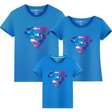 Summer Style Superman Mother and Daughter Father and Son Clothes Mommy and Me Clothes Family Matching T shirts Quality Cotton