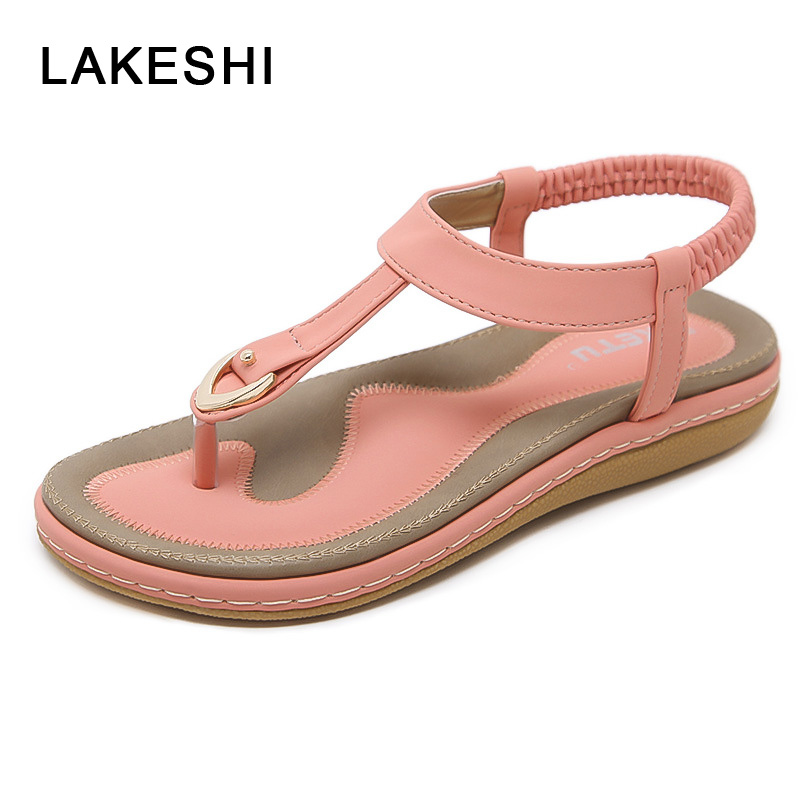 LAKESHI Flip Flops Women Beach Shoes Women Sandals Bohemian Slippers Summer Women Shoes Flat Sandals Fashion Ladies Sandals hot fashion summer women shoes women s metal c flat sandals female summer slippers flip flops ladies beach sandals femme chinelo