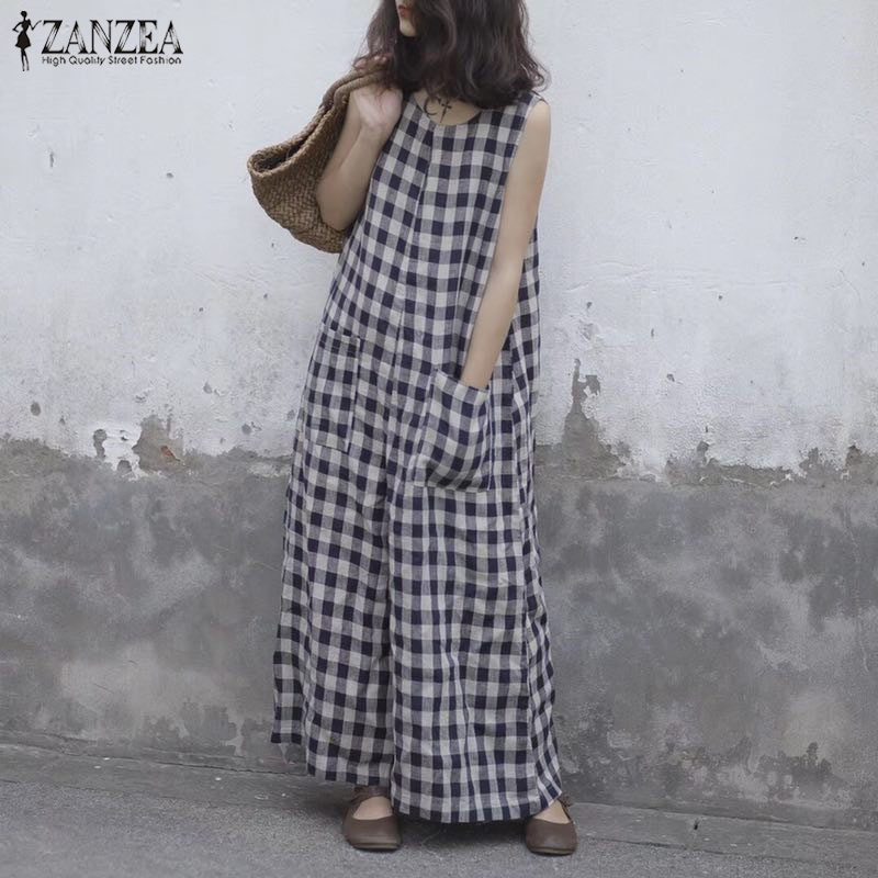 ZANZEA 2019 Summer Wide Leg Rompers Women Vintage Plaid Checked Sleeveless Loose   Jumpsuits   Pants Casual Baggy Overalls Plus Size