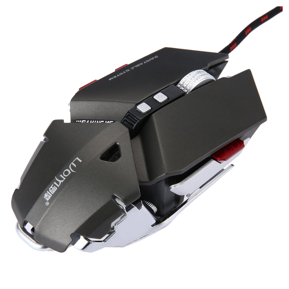 LUOM G50 Wired Programmable 10 Buttons 4000 DPI Professional Optical Mechanical Ergonomics Gaming Mouse, Gray