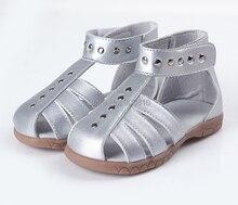 Niñas sandalias de cuero 100% zapatos del niño del cuero genuino de plata rosa blanca punta cerrada zapatos de verano Roma sandalias chic unique