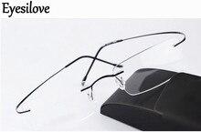Eyesilove titan ium çerçevesiz miyopi gözlük ultra hafif bellek titan miyop gözlük kısa görüşlü gözlük 1.00 6.00