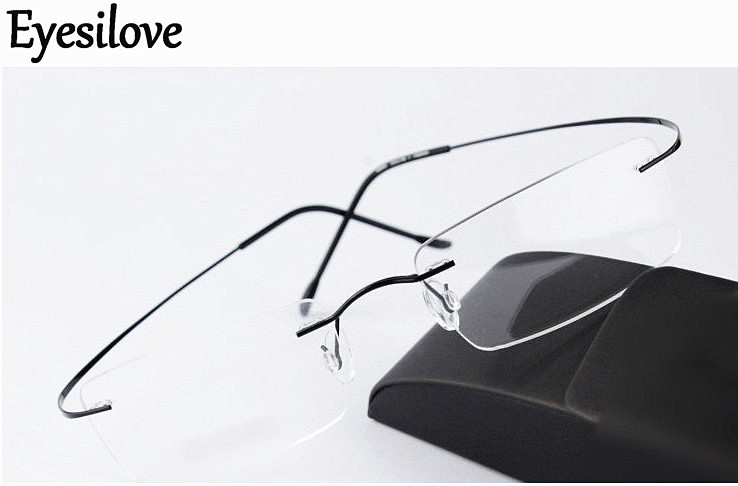 Eyesilove titanium rimless myopia glasses ultra light memory titan Nearsighted Glasses short sighted glasses  1.00 to  6.00-in Men's Eyewear Frames from Apparel Accessories