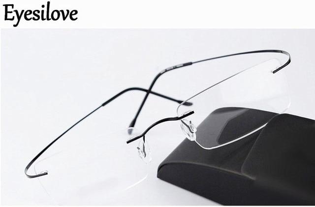 Eyesilove titanium rimless myopia glasses ultra light memory titan Nearsighted Glasses short sighted glasses  1.00 to  6.00