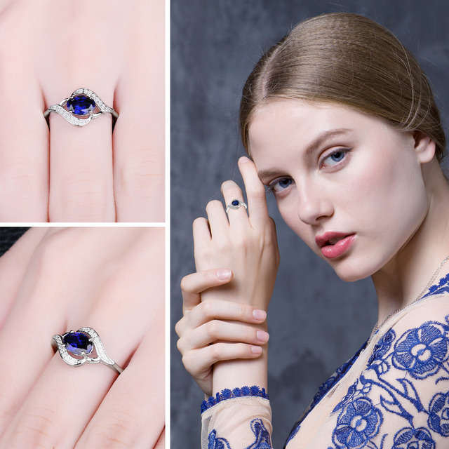 Blue Sapphire Statement Halo Ring