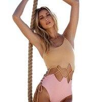 Sexy One Piece Swimsuit Women Swimwear Patchwork Monokini Hollow Out Swim Suit Bodysuit Bathing Suit One