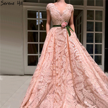 Peach O-Neck Lace Flower Evening Dresses 2019 Serene Hill