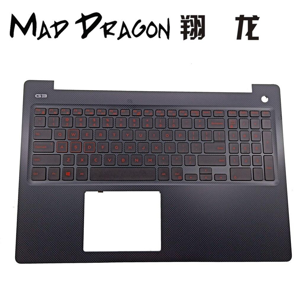 MAD DRAGON marque ordinateur portable nouveau bleu lumière US rouge lumière clavier et repose-main pour Dell G3 15 Gaming G3 3579 15 3579 V 0N4HJH N4HJH
