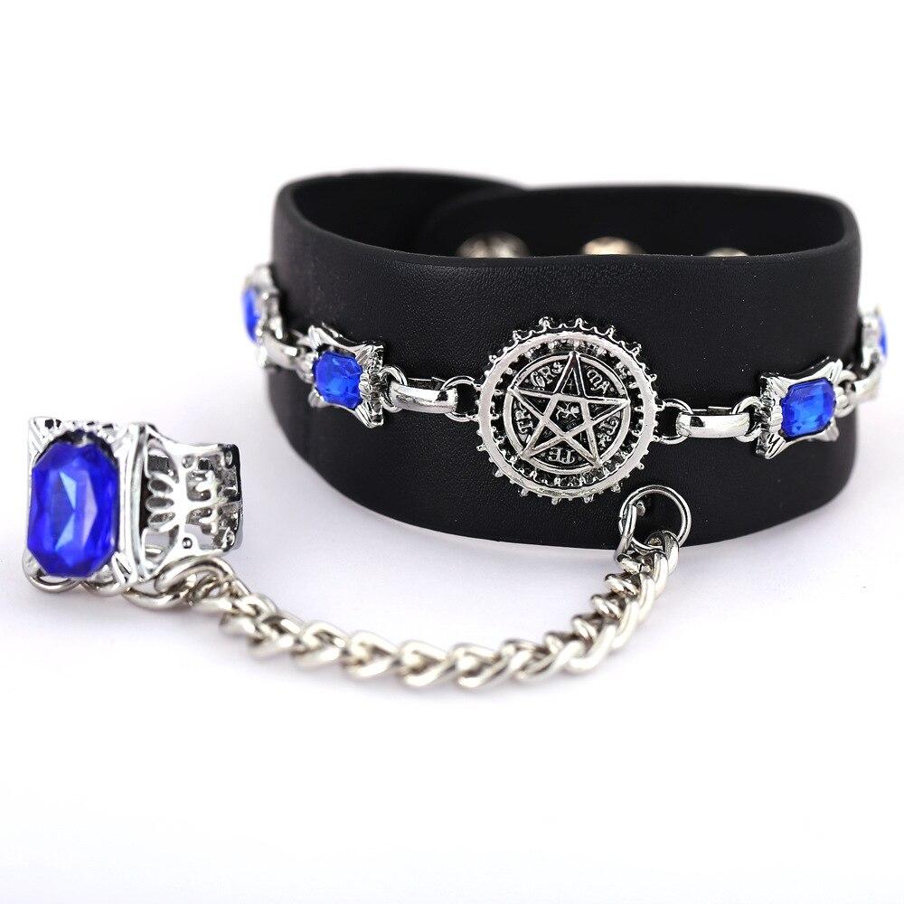 12 Pcs LotArtificial Saphire Jewelry Punk Chain Link Bracelet Anime Sebastian Pentacle Black Butler Chain Bulk