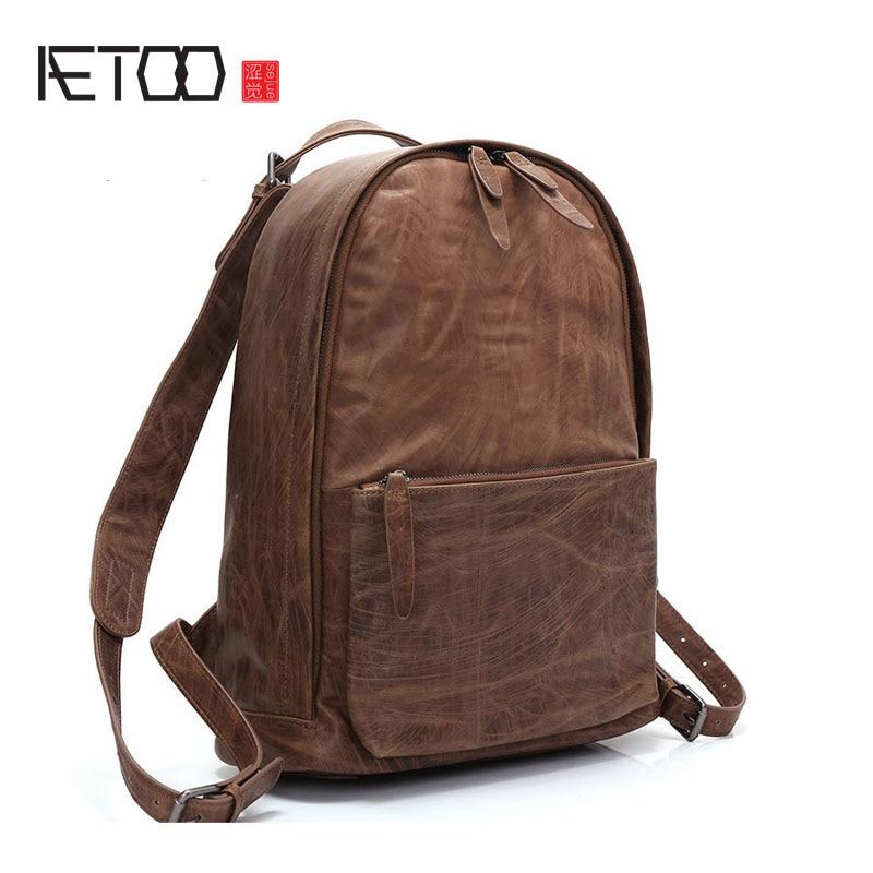 Bagaj ve Çantalar'ten Sırt Çantaları'de AETOO Retro deri omuzdan askili çanta 2017 yeni basit nötr erkekler ve kadınlar Baotou katman deri eğlence seyahat sırt çantası'da  Grup 1