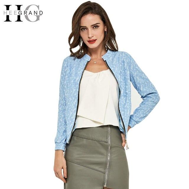 Hee grand jaqueta feminina 2017 nuevas chaquetas de la manera de las mujeres de encaje de color caramelo cremallera cuello mao delgado chaqueta corta wwj298