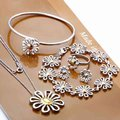 925 sistemas de la joyería de plata crisantemo flor, brazalete de plata, anillo, pendiente, collar S288