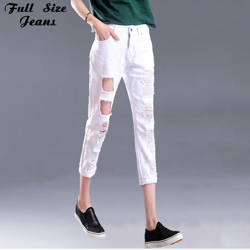 ФОТО Summer Design Plus size Loose Ripped White Cropped Jeans 6XL 4XL XXS Femme Denim Women High Waist Ripped Capris Jeans Woman Jean