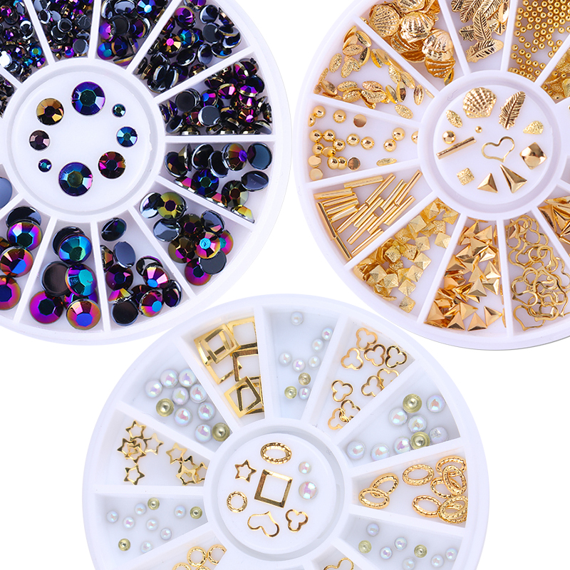 Mixed Gold Silver Rivet Nail Studs Rhinestone Bead 3D Nail Decoration in Wheel Manicure Nail Art Decor 1 box rivet laser 3d nail decoration 4mm square nail studs manicure nail art decoration wheel